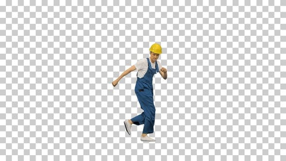 Thumbnail for Young construction worker in yellow hardhat, Alpha Channel