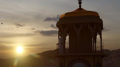 Mosque Minaret and Sunset