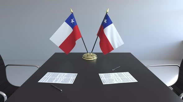 Thumbnail for Flags of Chile and Papers on the Table
