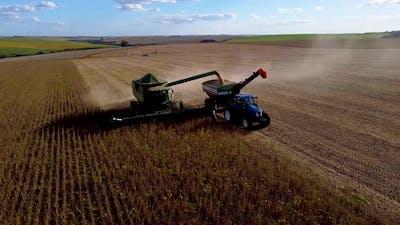 Soybean Harvester Dumping Seeds