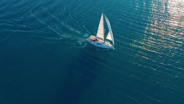 Thumbnail for Aerial View. Beautiful View of Yacht Saile in Open Sea
