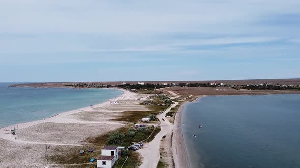 The View From the Bird's Eye View of Beautiful Cape Tarhankut with Tourists