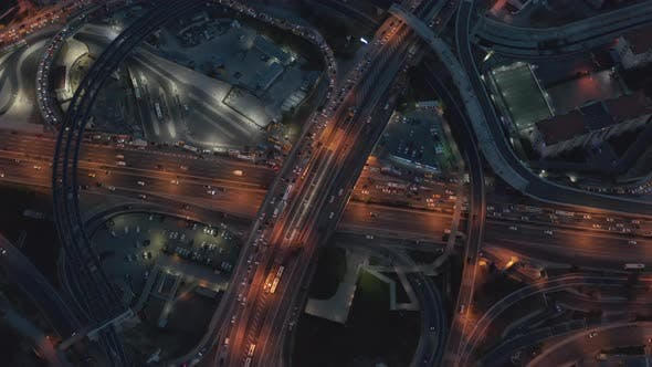 Thumbnail for Huge Freeway Interchange at Night with Car Traffic in Istanbul Financial District