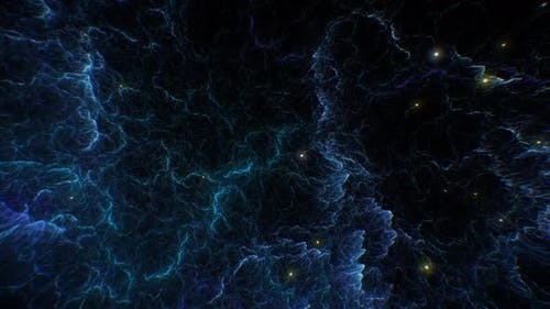 Space Flying Inside Tendril Nebula and Stars