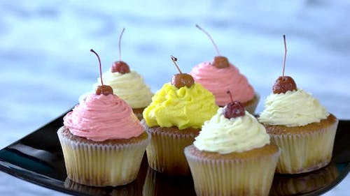Cherry Cupcakes with Cherry Frosting