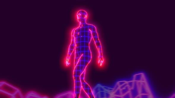 Neon retrofuturistic walking man