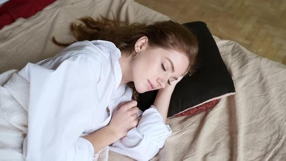 Young Girl Sleeping. Peaceful Sleep
