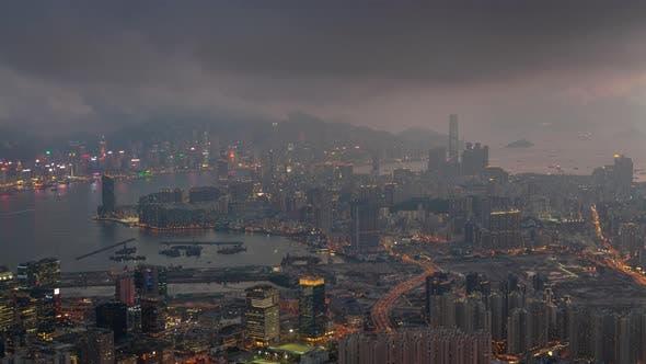 Hong Kong skyline sunset timelapse