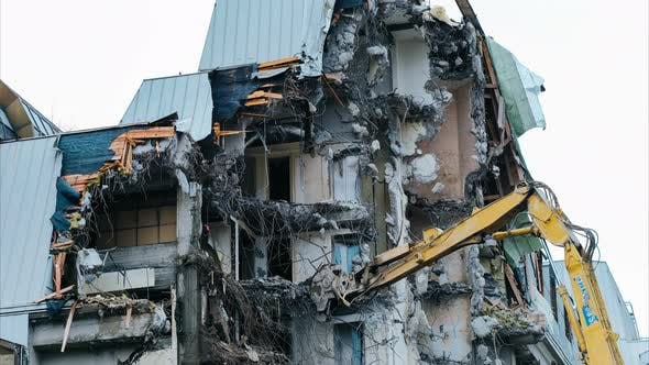 Thumbnail for Demolition of an Old Building, Time-lapse. Excavator Destroys Old Building