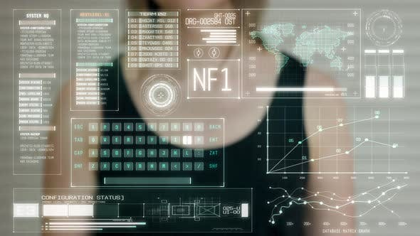 Young Girl Press on Futuristic User Interface Concept Screen. Graphical User Interface - GUI
