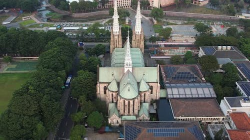 Aerial view of Jakarta cathedral.