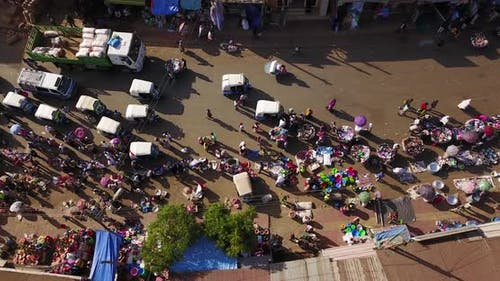 Topdown aerial of a busy marketplace at the city of Gondar, Ethiopia, Africa. 4K