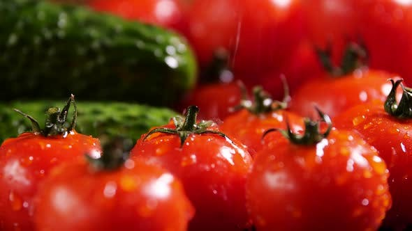 Thumbnail for Tomatoes and Cucumber With Drops of Water, Beautiful Macro , Raw Organic Vegetables, Organic Food