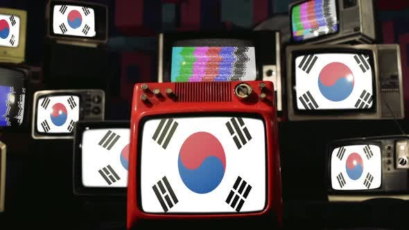 Flags of South Korea and Vintage Televisions.