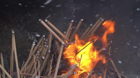 Thumbnail for Slow motion burning of joss stick.
