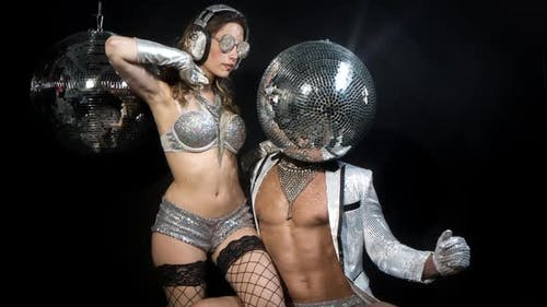 disco man woman discoball glitterball party music