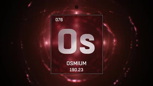 Osmium as Element 76 of the Periodic Table On Red Background