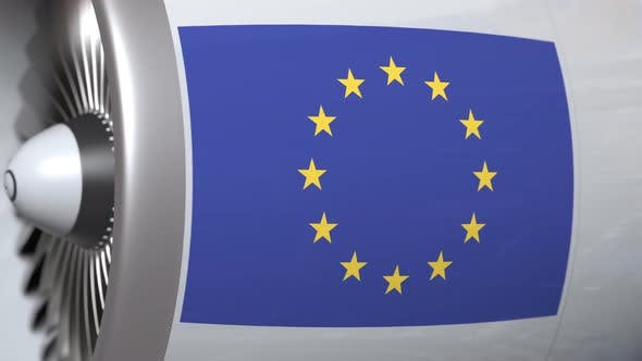 Thumbnail for Airplane Engine with Flag of the EU