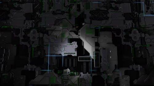 Futuristic Scifi Metal Glowing Light Wall 3D Rendering