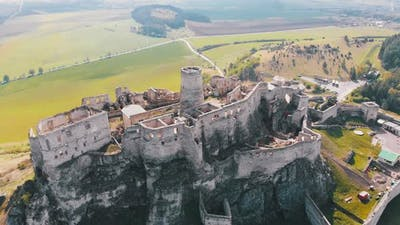 Aerial Drone View on Spis Castle. Slovakia. Ancient Castle, Spissky Hrad