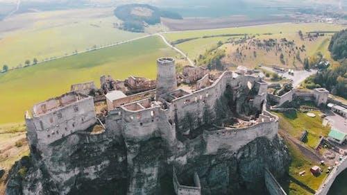 Aerial Drone View on Spis Castle. Slovakia. Ancient Castle, Spissky Hrad