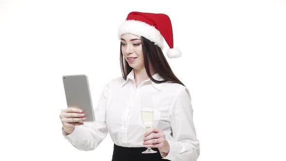 Thumbnail for Tablet Video Call Waving Hand in the Office Indoors Smiling Young Business Woman.