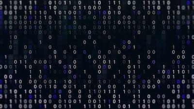 Binary code fast typing on dark display