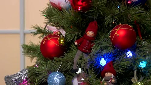 Decorated Christmas Tree Close Up.