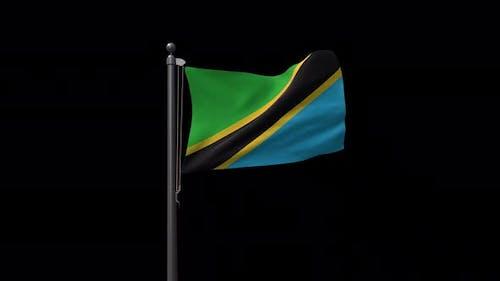 Tansania-Flagge auf Fahnenmast mit Alphakanal 4K