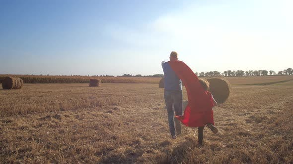 Thumbnail for Dad and Son As Brave Superheroes Rushing To Rescue