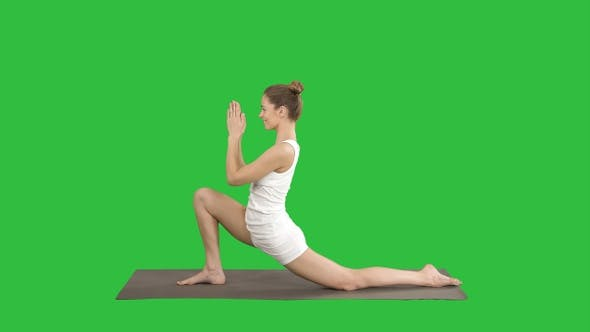 Thumbnail for Sporty attractive girl practicing yoga standing in Horse