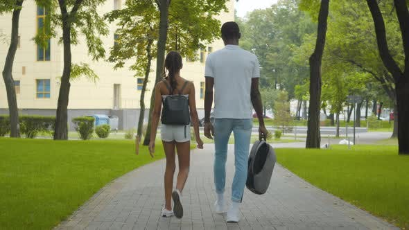 Thumbnail for Back View of Cheerful African American Girl and Man Walking Along the Alley in Summer Park. Positive
