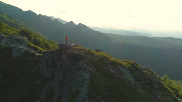 Man Hike on the Peak of Rocky Mountains Botev Peak Bulgaria
