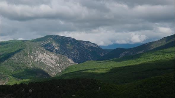 Timelapse Video Beautiful Mountain Landscape Cloudy Sky