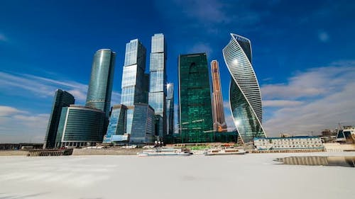 Moscow City - View of Moscow International Business Center. Timelapse