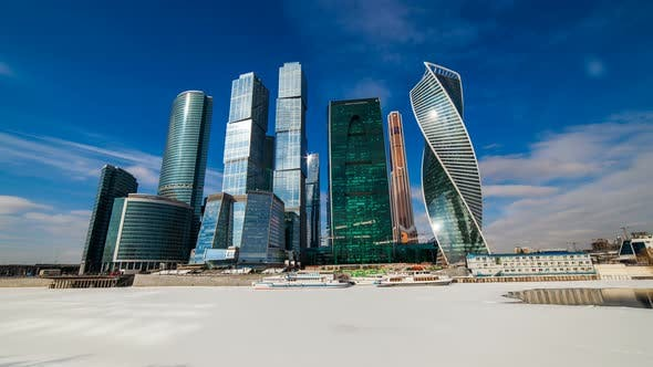 Thumbnail for Moscow City - View of Moscow International Business Center. Timelapse