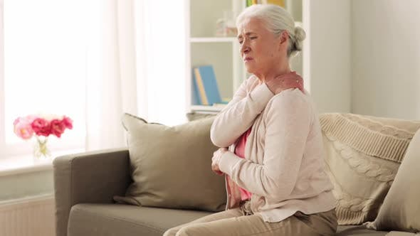 Thumbnail for Senior Woman Suffering From Neck Pain at Home