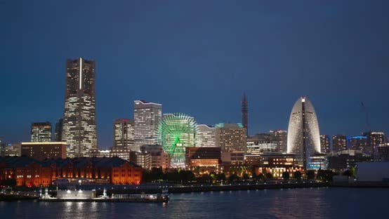 Thumbnail for Yokohama city bay at night