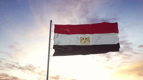 Egypt Flag Waving in the Wind Dramatic Sky Background
