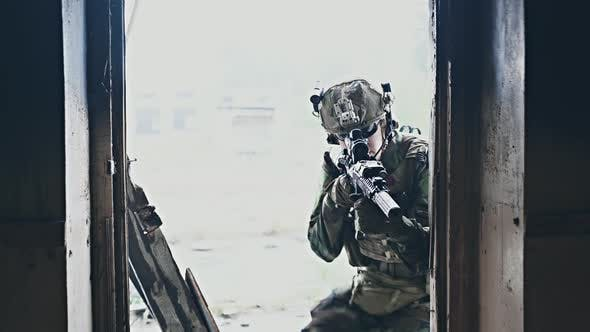Soldier in Combat. Urban Combat Training, Soldier Entering Abandoned Building. Anti Terrorist