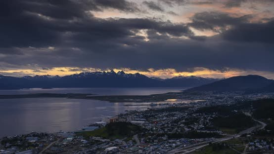 Patagonia Timelapse at Ushuaia of Andes Mountains in Argentina. 4k day to night time lapse of clouds