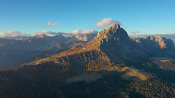 Thumbnail for Sunrise in the Province of Bolzano, Dolomites. Bird's-eye View of Mountains and Valleys