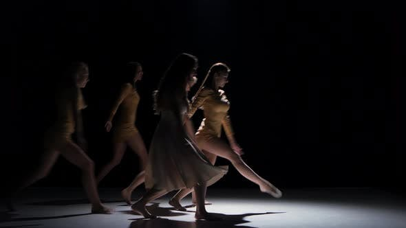 Thumbnail for Five Beautiful Girls Dancing Modern Contemporary Dance, on Black, Shadow