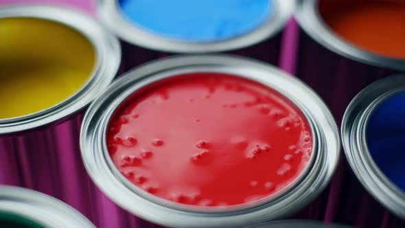 Thumbnail for Colorful Paint of a Metal Bucket. Top View