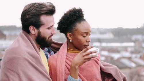 Black Woman Drinking Coffee in the Morning