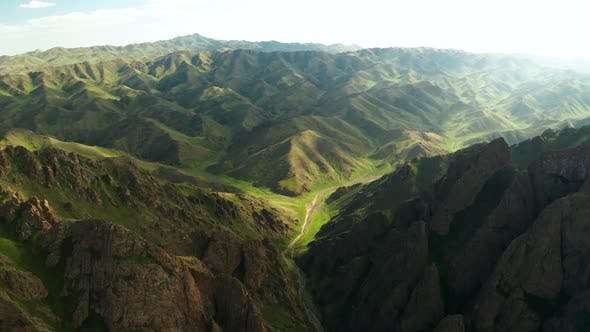 Thumbnail for Yolyn Am or Eagle Valley at Sunset. Aerial View. Mongolia