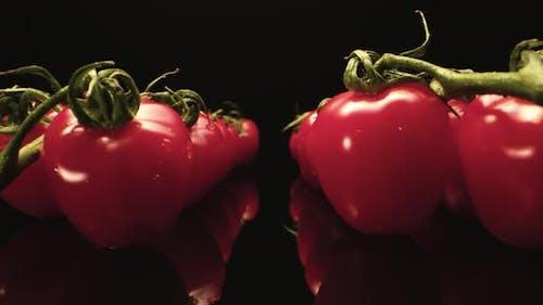 Red tomatoes super mega macro close up
