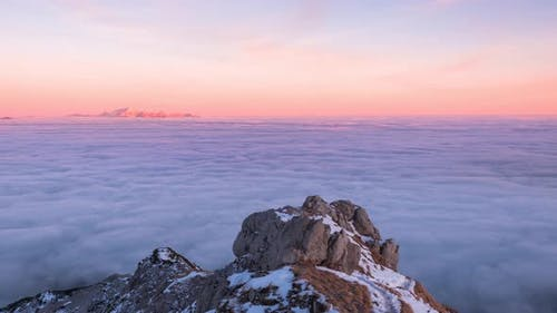 Misty mountains sunset