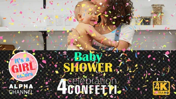 Baby Shower Celebrations - Girl Colors Confetti