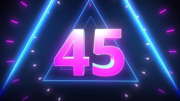 Neon Countdown 1 Minute 4K